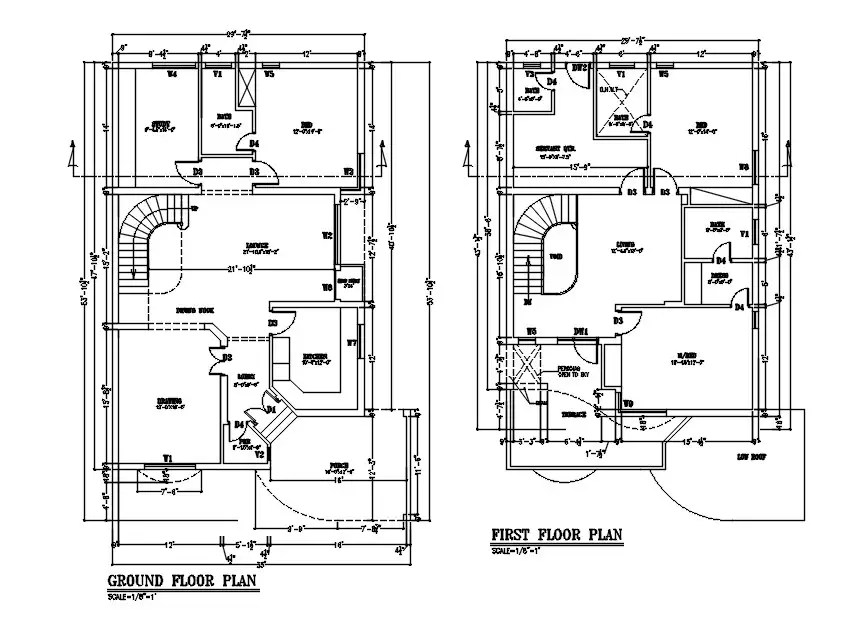 1600 Square Feet House Floor Plan CAD Drawing DWG File