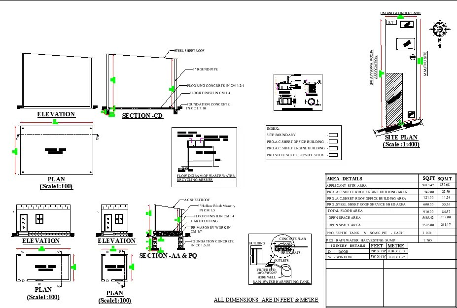 22'X 11' small Engine room Blueprint floor plan is given