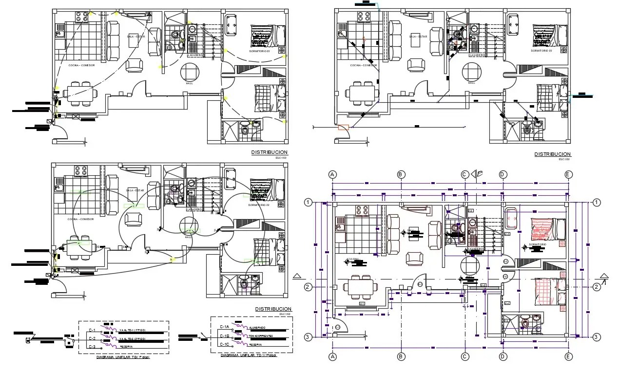 2BHK Huge Bungalow Planning Cad Drawing With Electrical