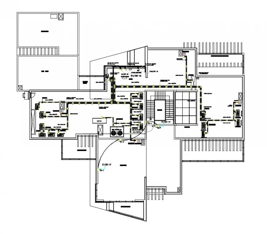 2 d cad drawing of ground floor fire alarm layout Auto Cad