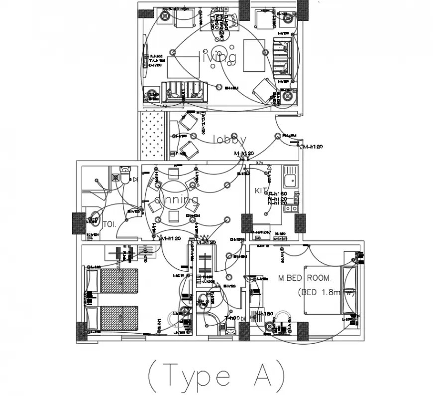 2BHK flat electrical layout plan drawing in dwg AutoCAD