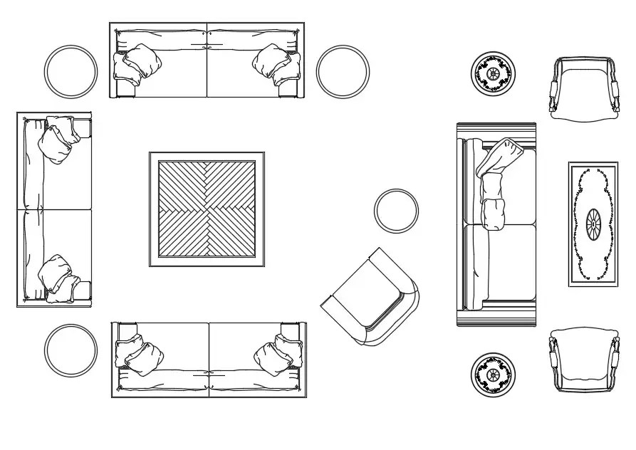 2d Living Room Furniture Cad Blocks Drawing Dwg Cadbull