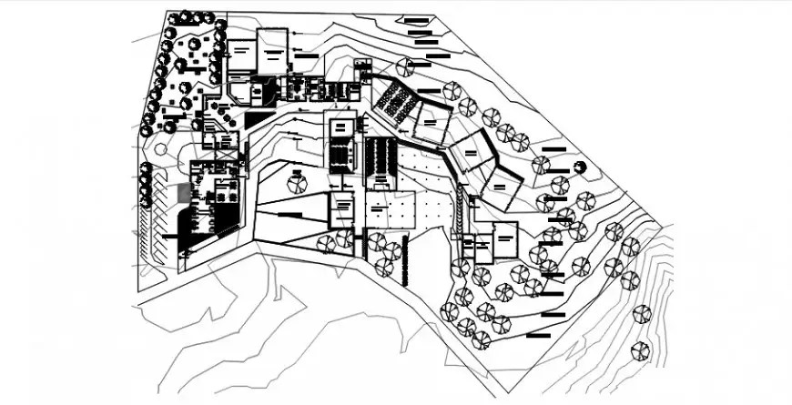 2d CAD drawing detailing of an area planning dwg file