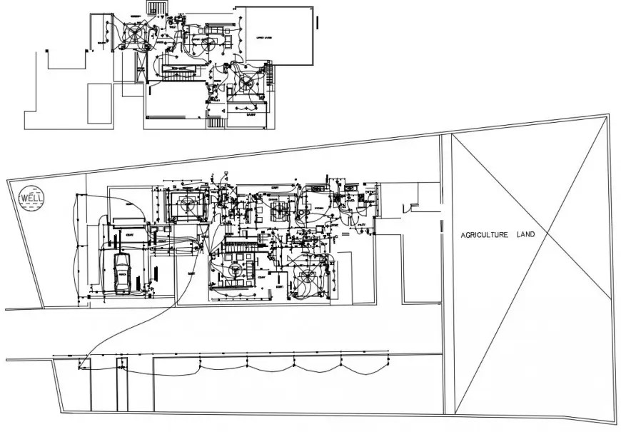 2d cad drawing of agriculture electrical land autocad file