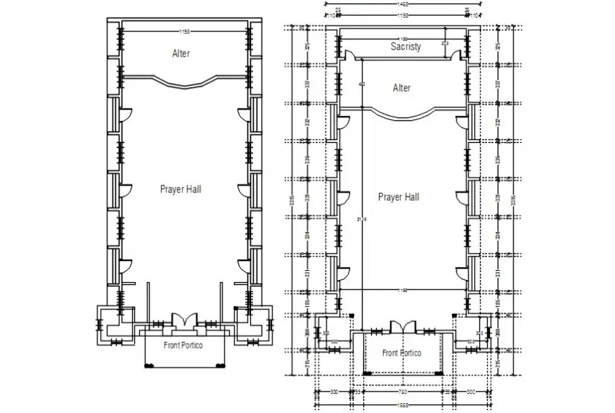 2D Cad drawing of church proposed ground floor plan