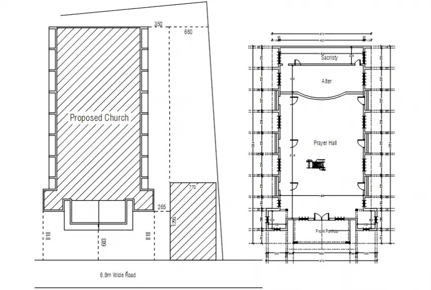 2D cad drawing of church proposed plan AutoCAD software