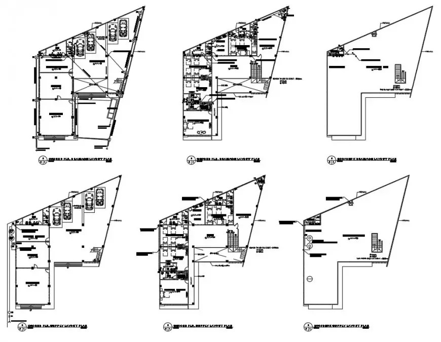 2d cad drawing of floor wise plumbing layout plan autocad