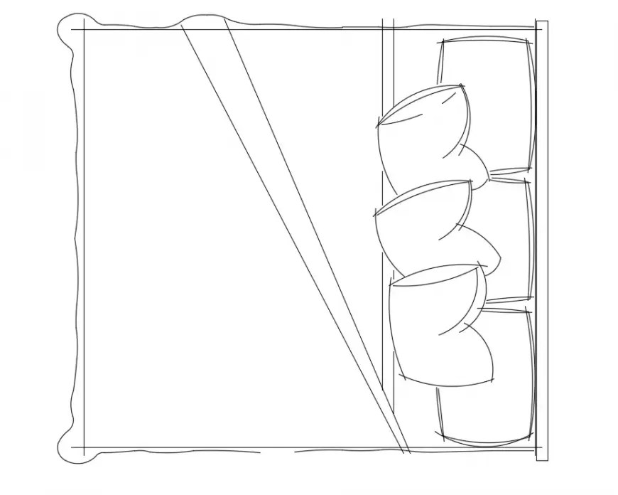 2d cad drawing of fluffy three pillow bed auto cad
