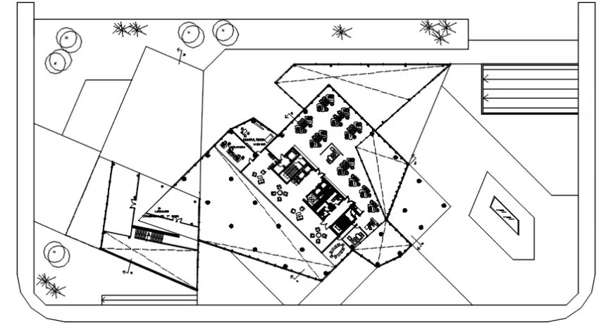 2d cad drawing of hatching without done hotels autocad