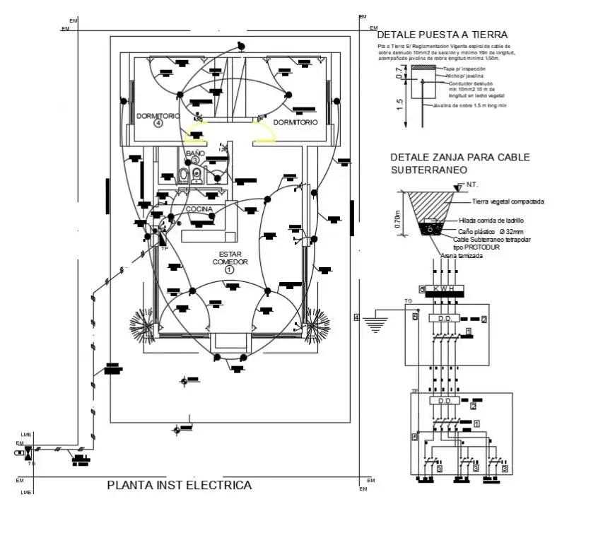 2d cad drawing of housing electrical layout auto cad