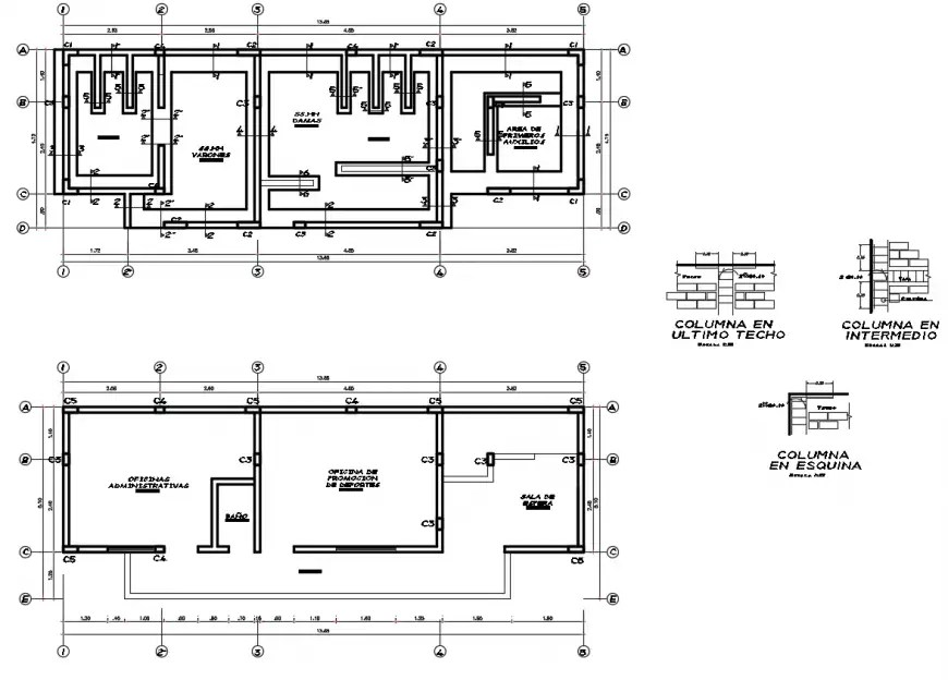 2d cad drawing of roof beam of sports club autocad