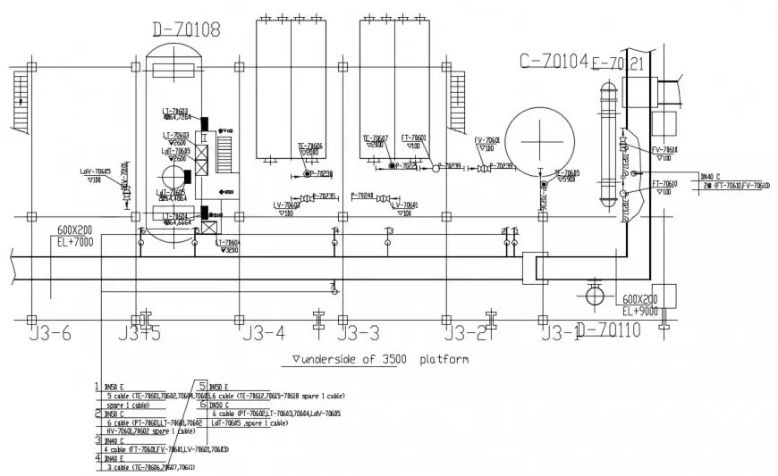 2d cad drawing of underside cable operator autocad