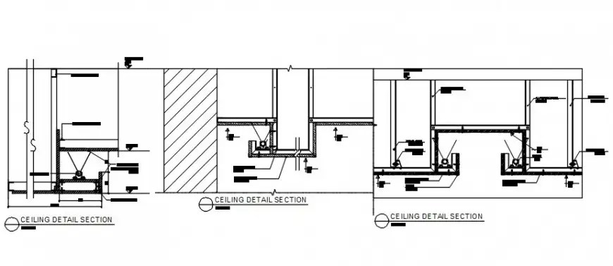 2d CAD sectional details of ceiling block AutoCAD software