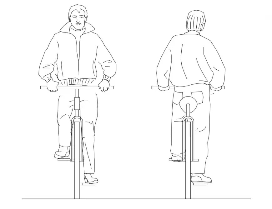 2d cycle elevation front and back view with cyclist cad