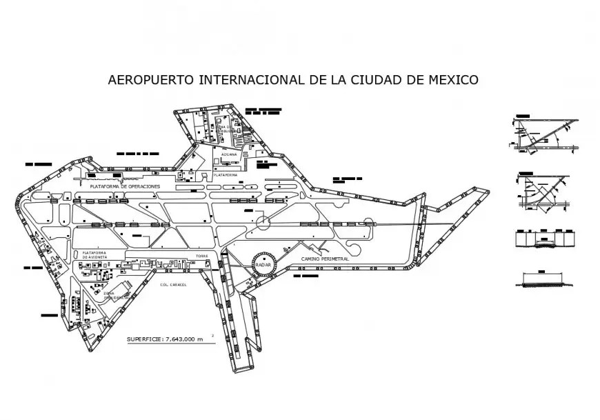 2d view construction detail plan of airport terminal