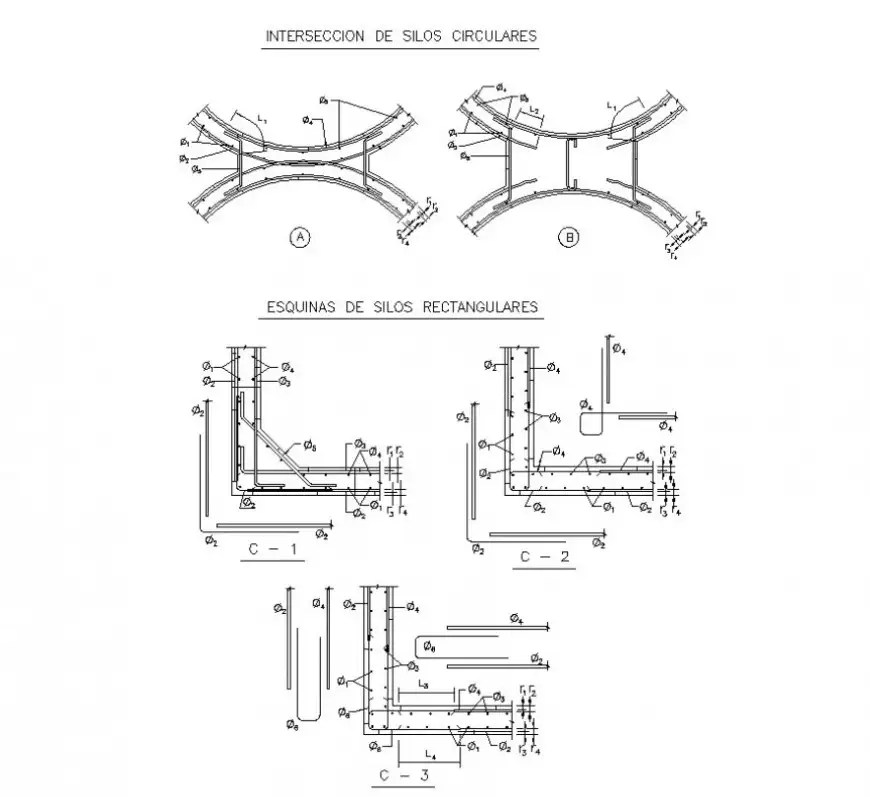 2d view of RCC structure detail drawing in autocad