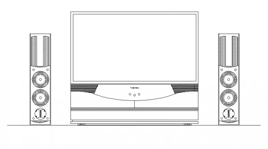 2d view of television blocks drawing in autocad software
