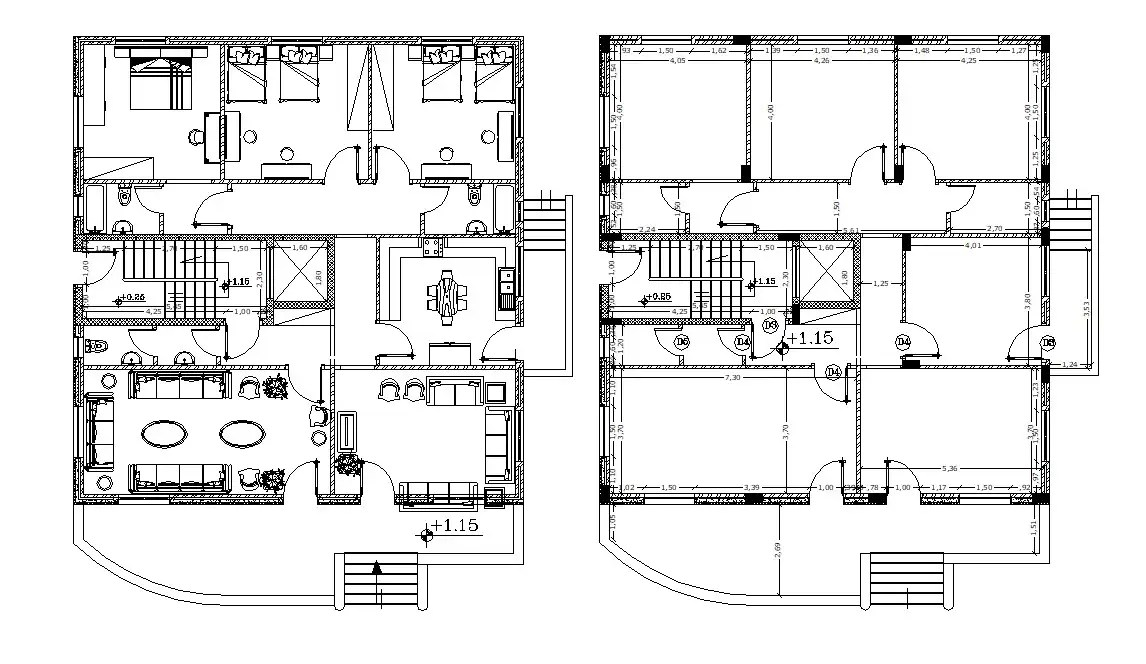 3 Bedroom Furniture House Layout Plan Autocad Drawing Cadbull