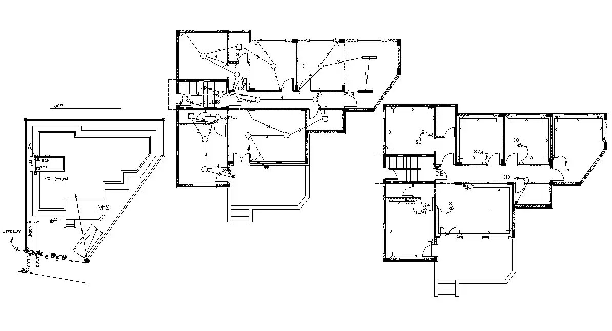 3 Bedroom House Floor Plan With Electrical Layout Plan DWG