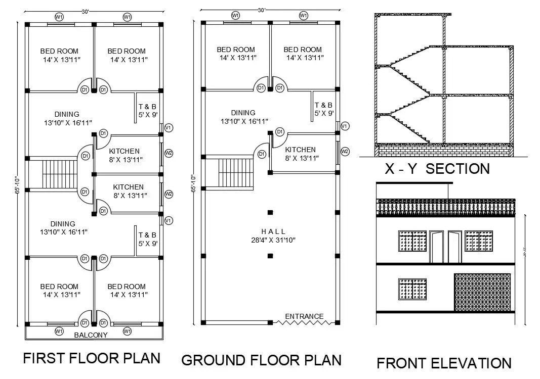 30X65 FT House Ground Floor And First Floor Plan Drawing