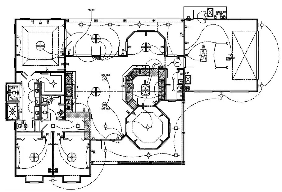 3 BHK House Electrical Layout Plan CAD Drawing DWG File