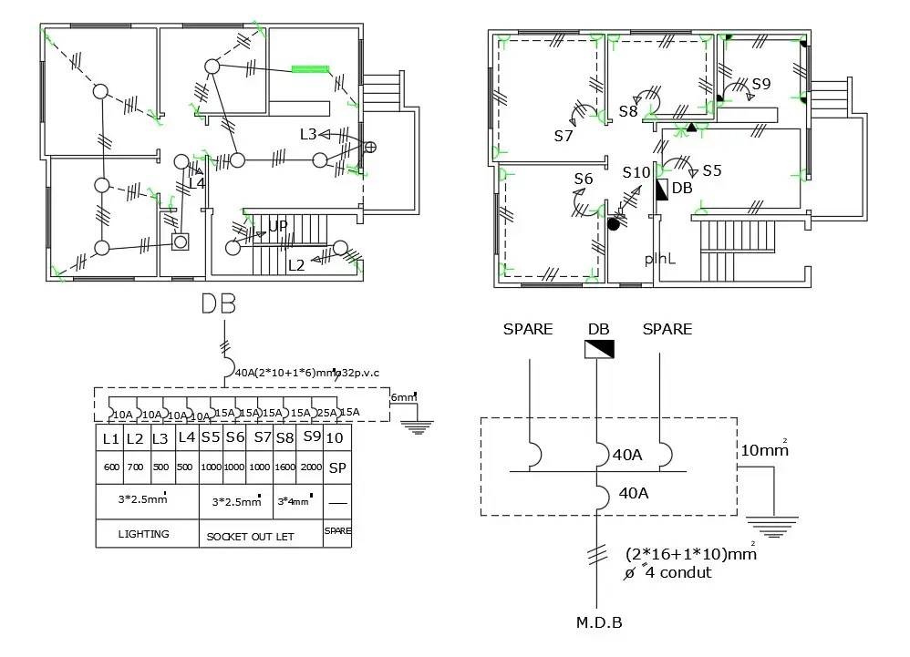 3 BHK House Electrical Plan With Power Supply Diagram