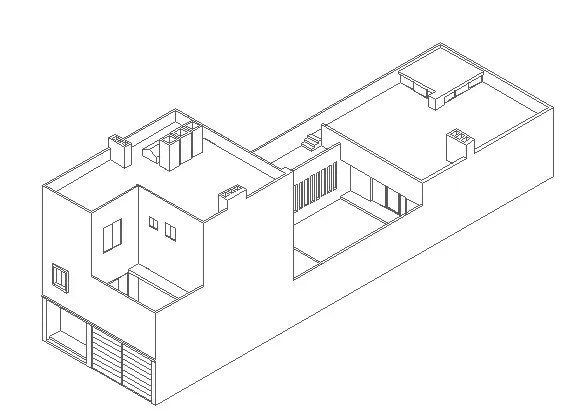 3D Design of Multi-Family Bungalow Elevation dwg file