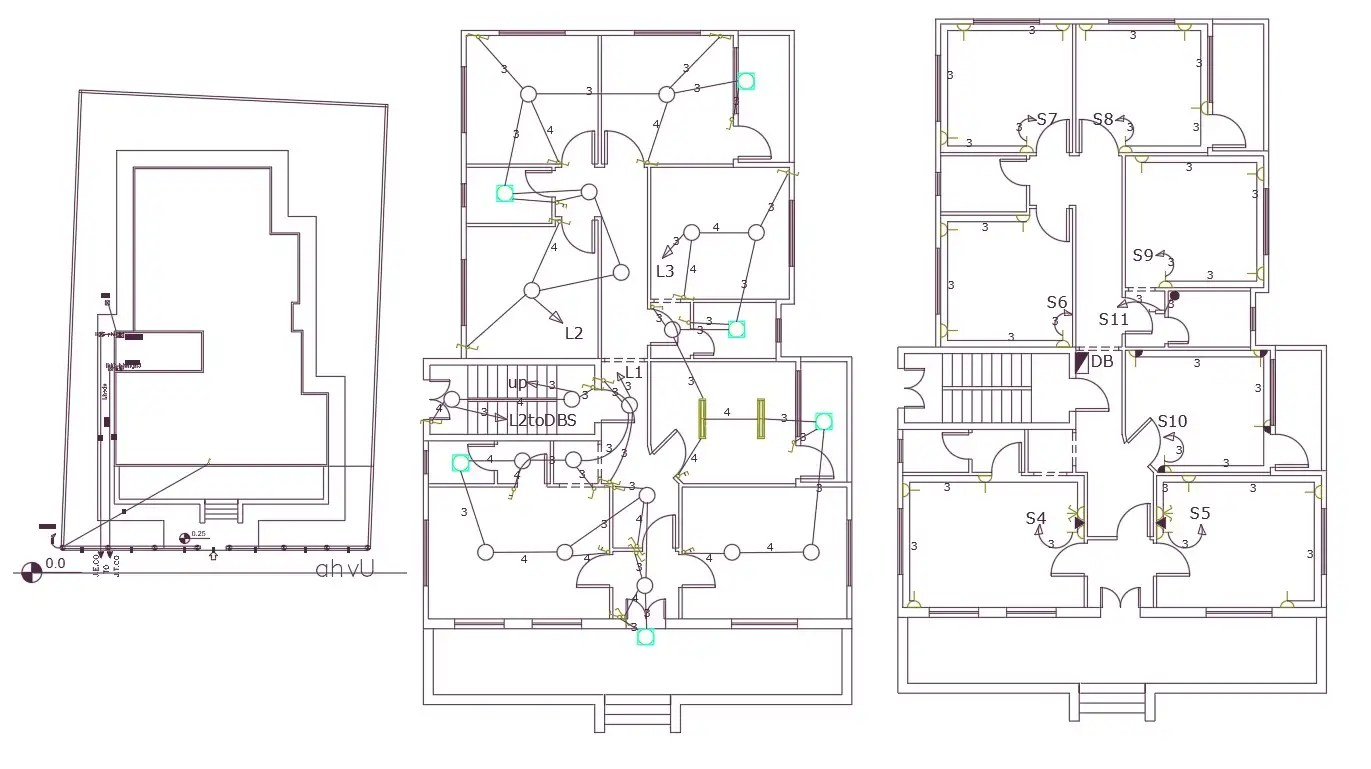 42 X 65 Feet Plot Size For 4 BHK House Electrical Layout