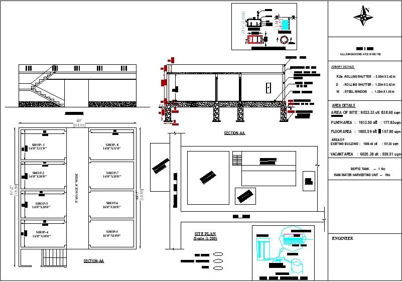 43'X 51' Commercial shop building Blueprint floor plan is