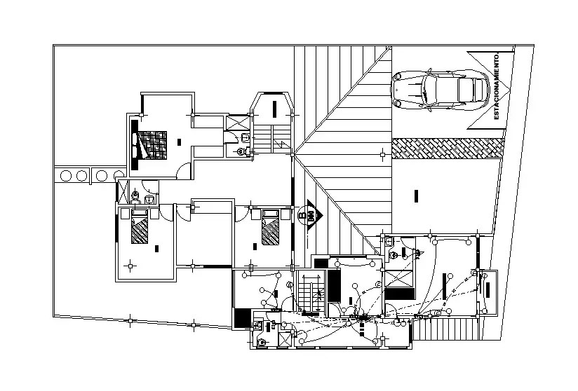 An electrical layout of 10x20m house plan is given in this