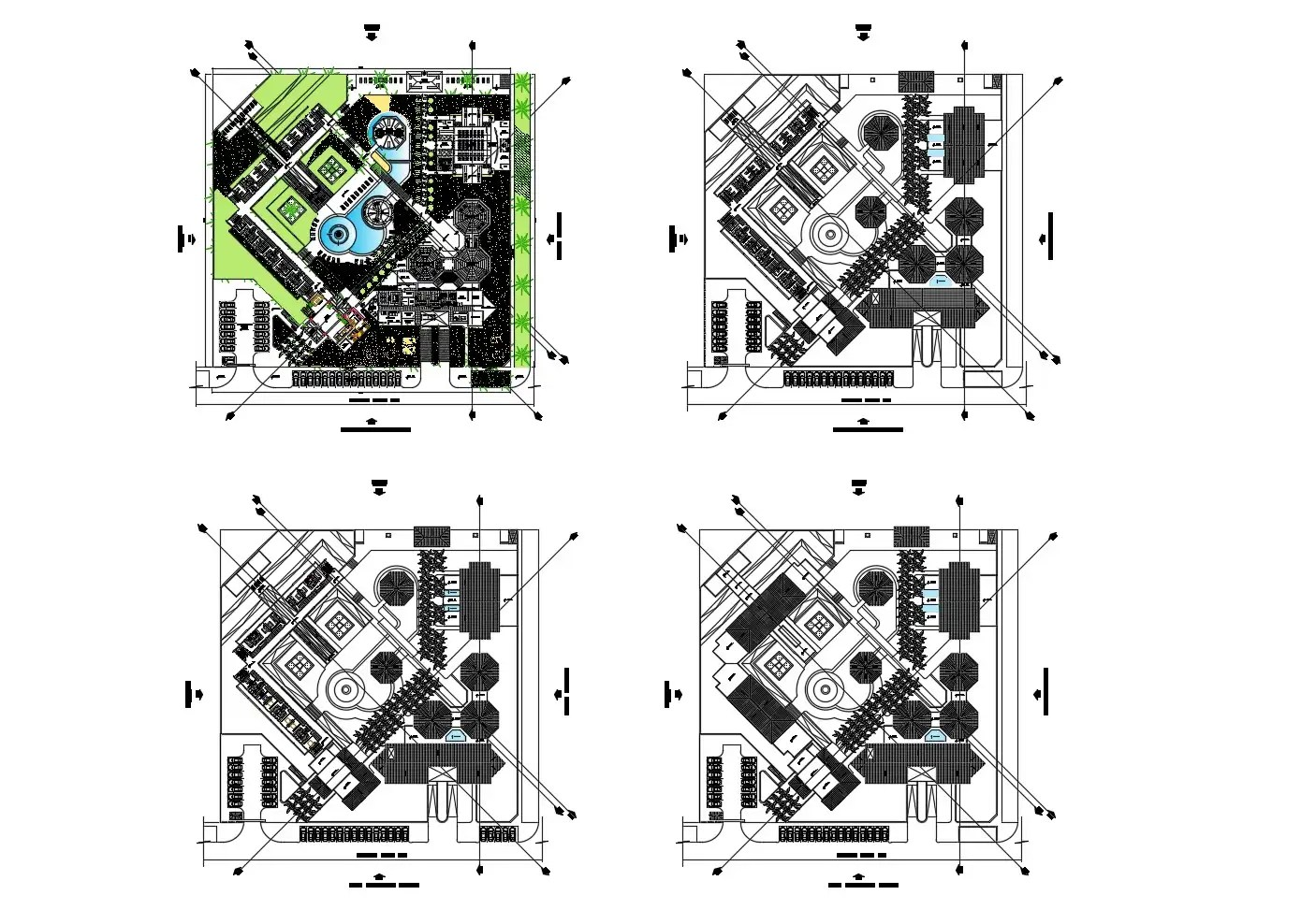 Architectural plan of hotel building 102.10mtr x 100.46mtr