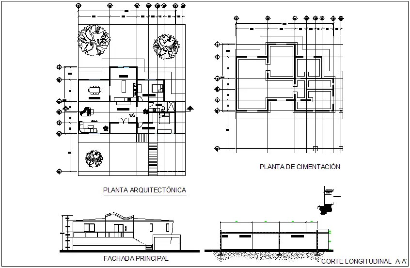 Architectural plan of house with section and elevation