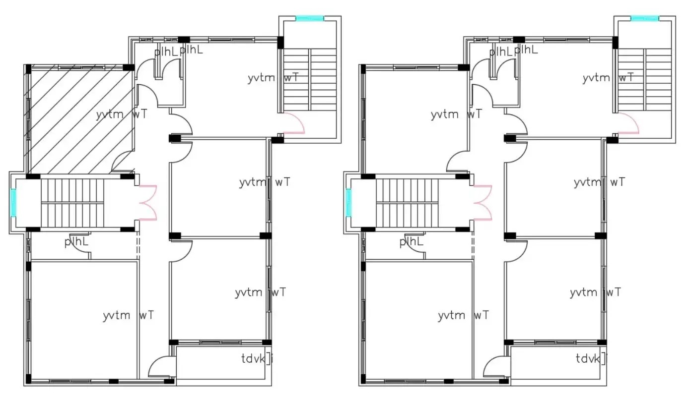 Architecture Ground Floor And First floor House Plan DWG