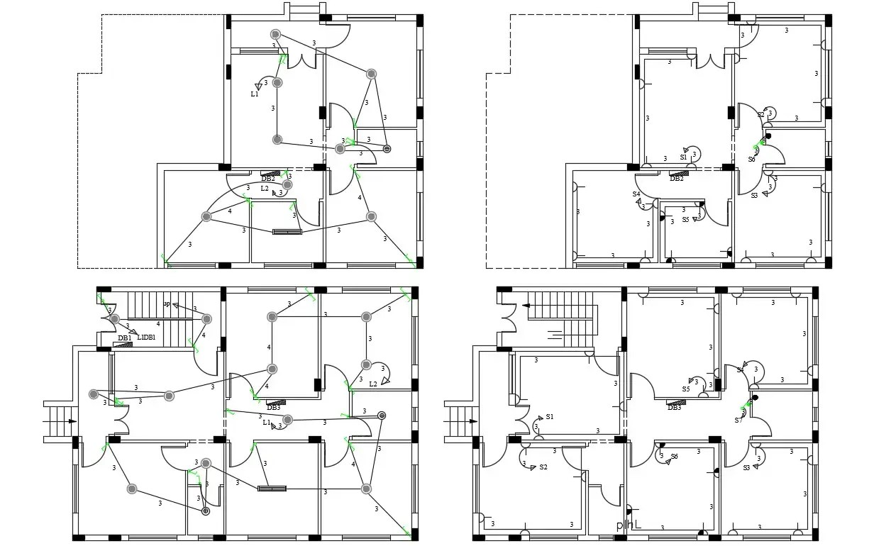 Architecture House Electrical Wrining Layout Plan Drawing