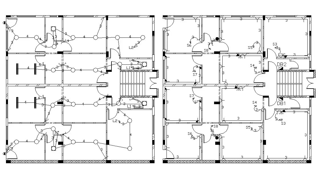 Architecture House Floor Plan Electrical Layout Drawing