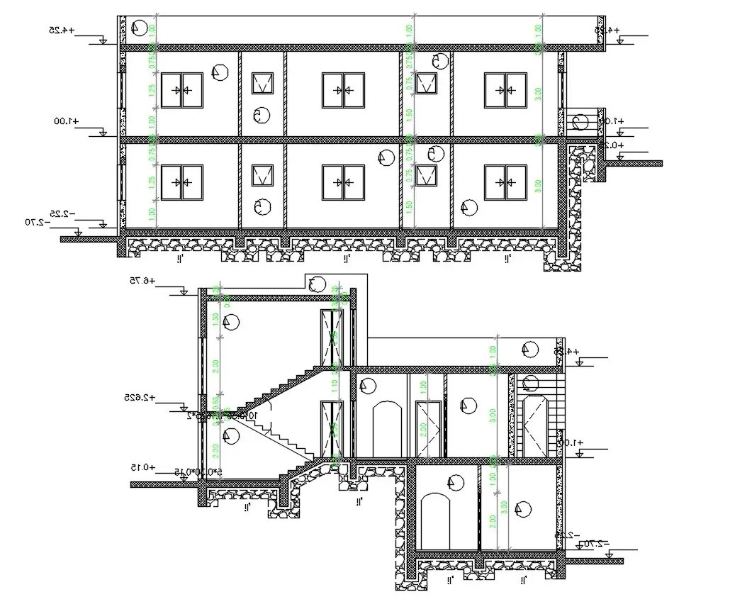 AutoCAD House Building Cross Section Drawing DWG File