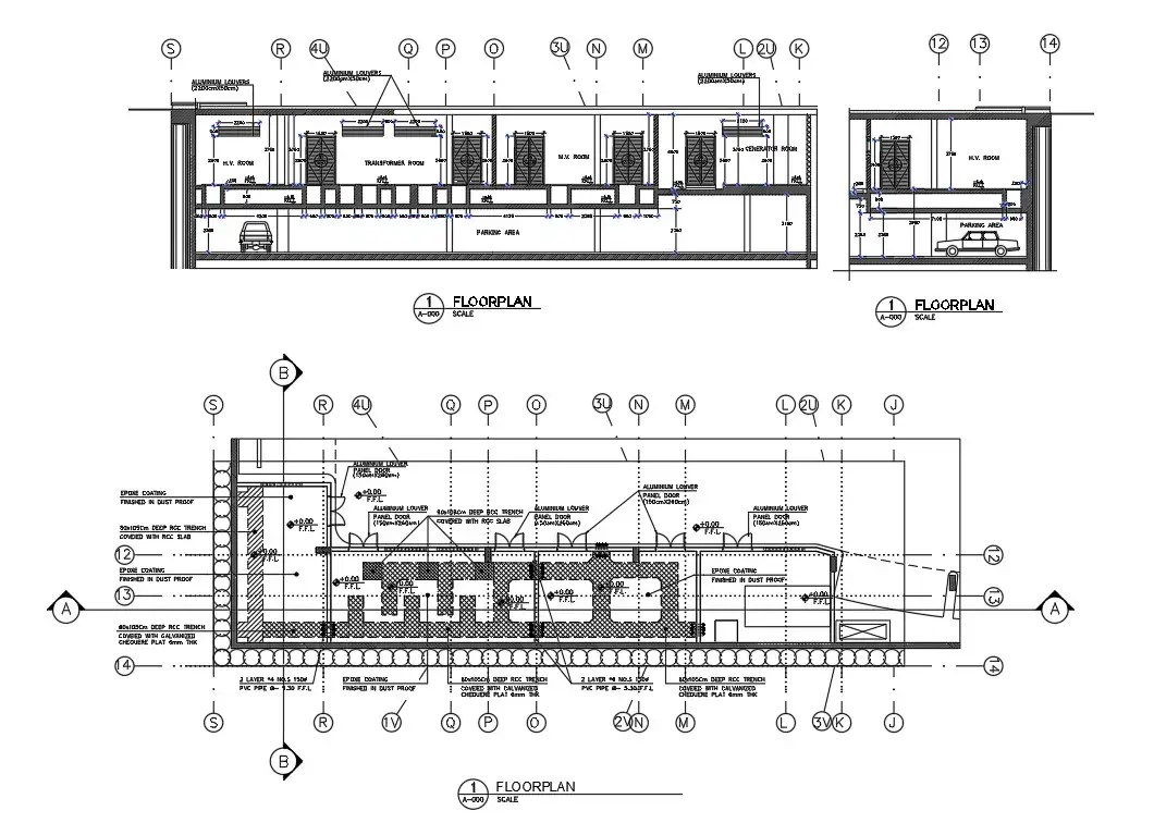 AutoCAD drawing of the electrical substation section plan
