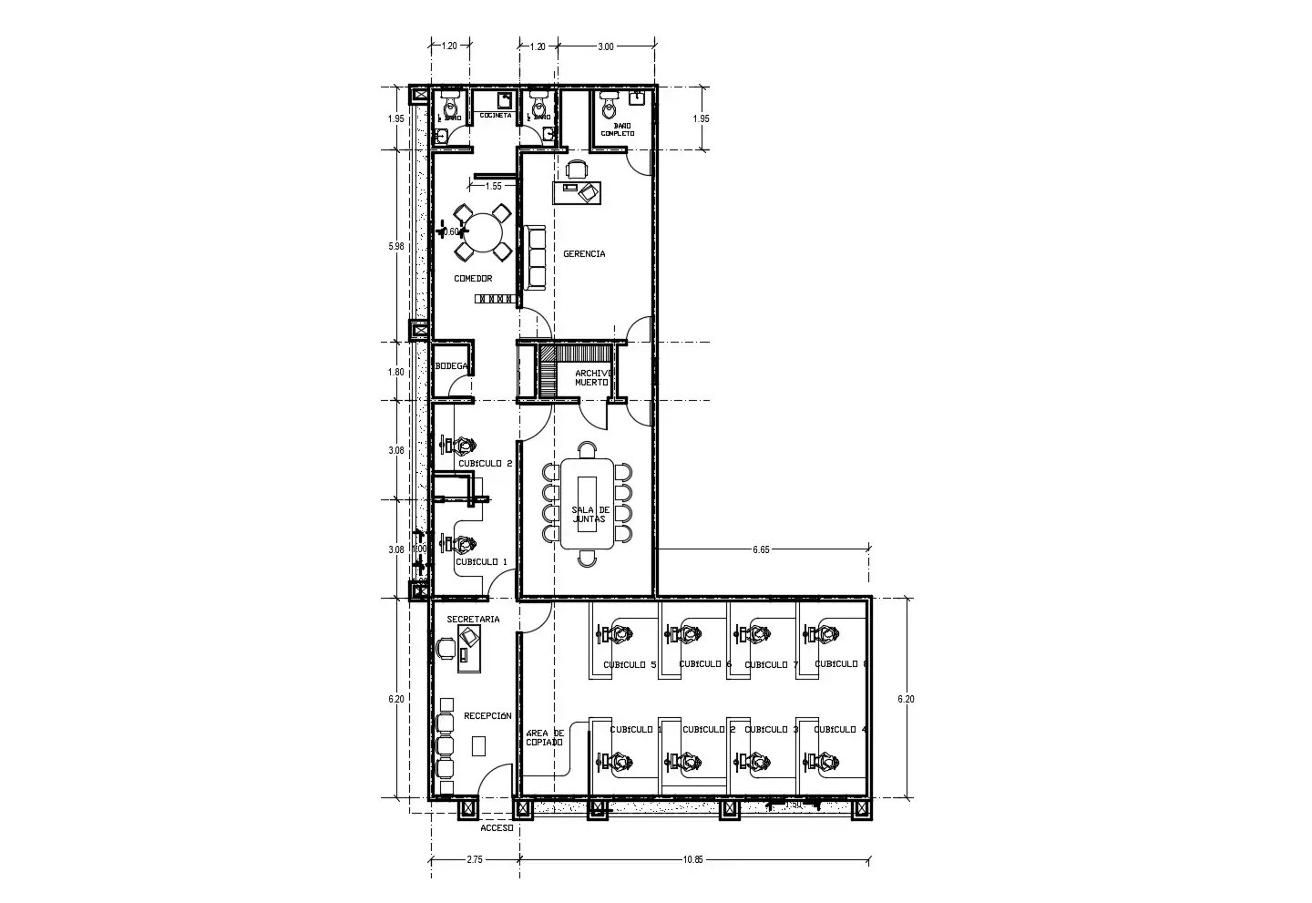 Autocad drawing of office design with detail dimension