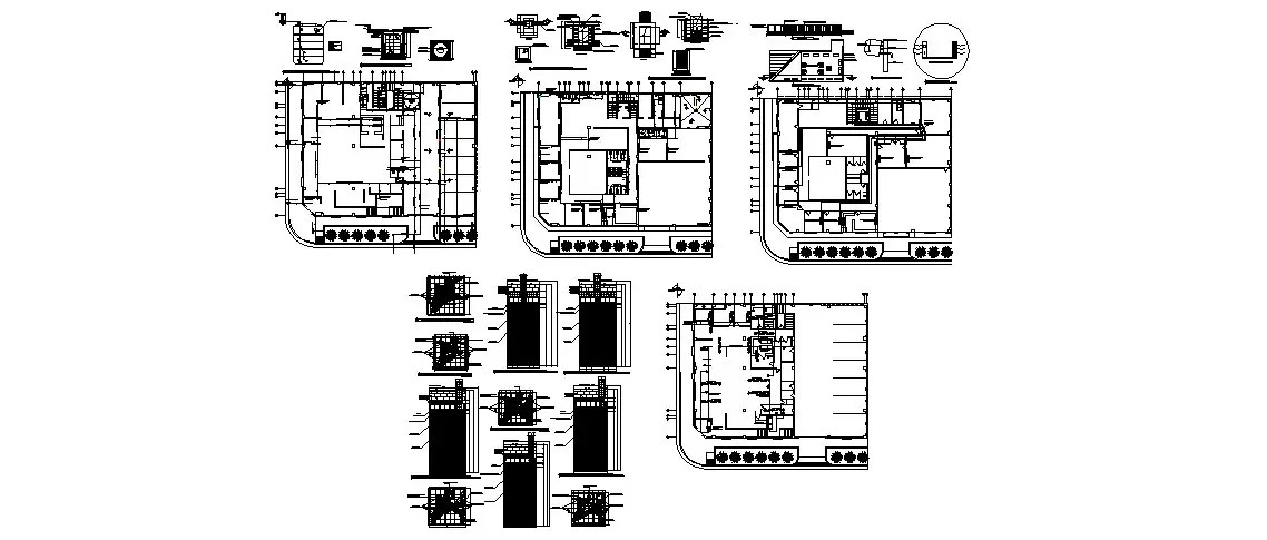 Bank office building cover plan, column and structure cad