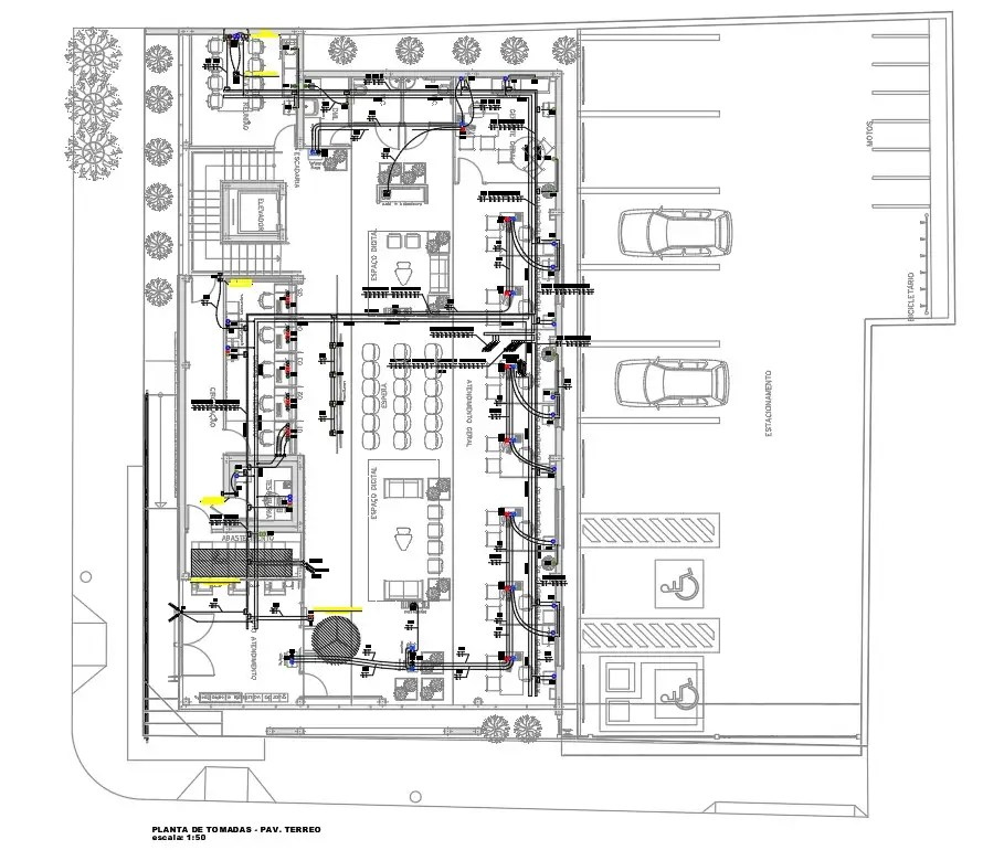 Bank Ground Floor Plan With Electrical Layout Drawing DWG