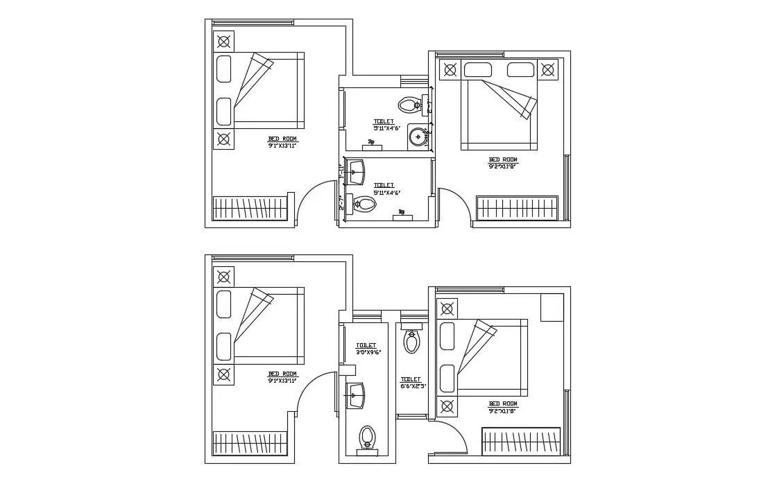 Bedroom Furniture Layout Plan Cad Drawing Download Cadbull
