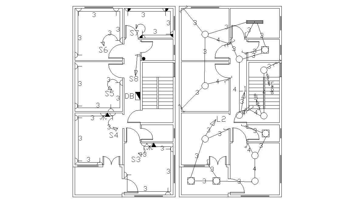 Bungalow Electrical Plan AutoCAD Drawing Free Download