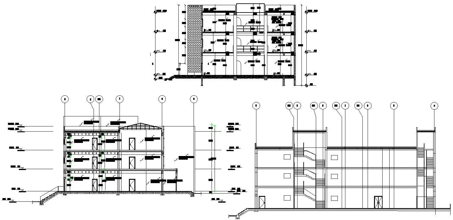 CAD Drawing DWG file of duplex G+2 house plan with