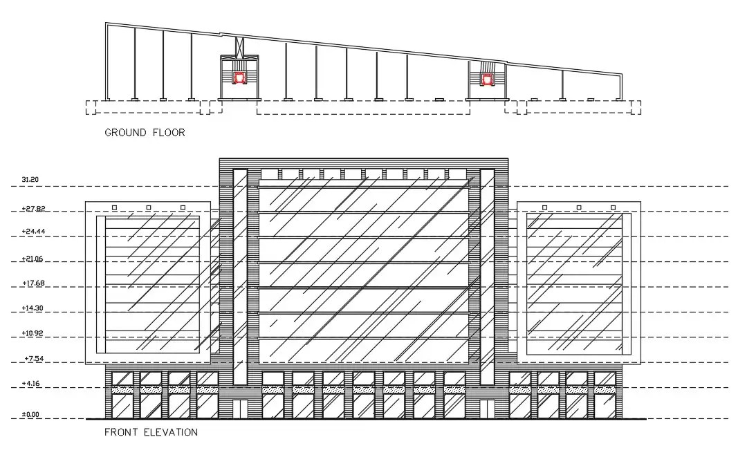 Commercial Complex Elevation With Ground Floor Plan DWG