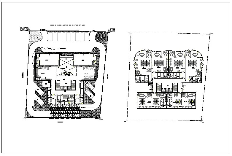 Commercial administration building plan detail view dwg