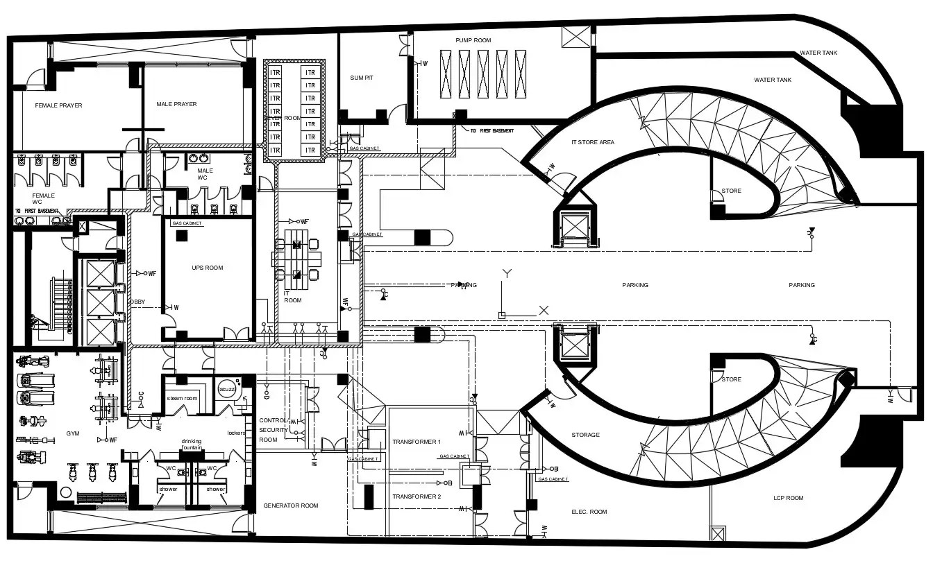 Commercial complex plans architecture design CAD file