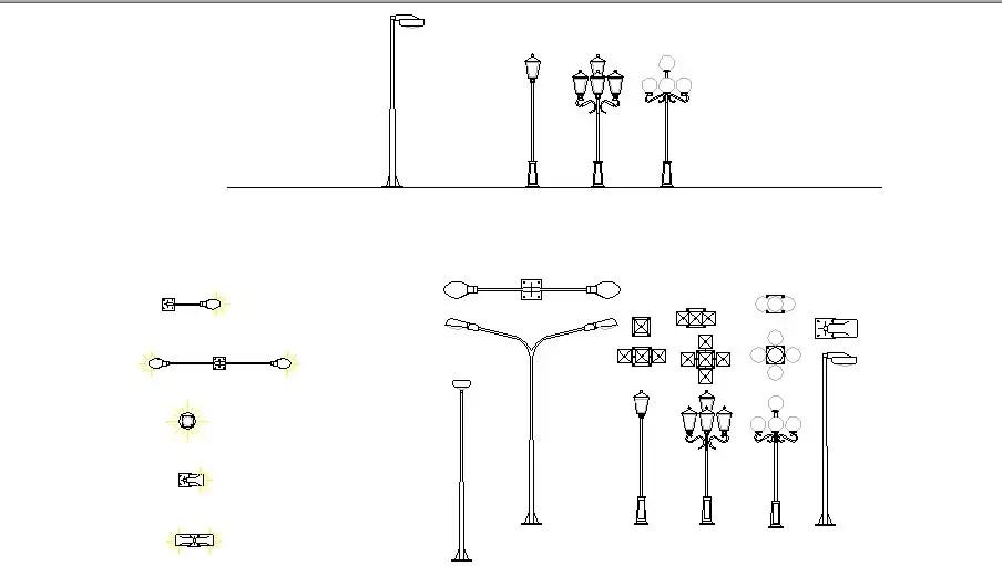 Creative street lights and light pole blocks cad drawing