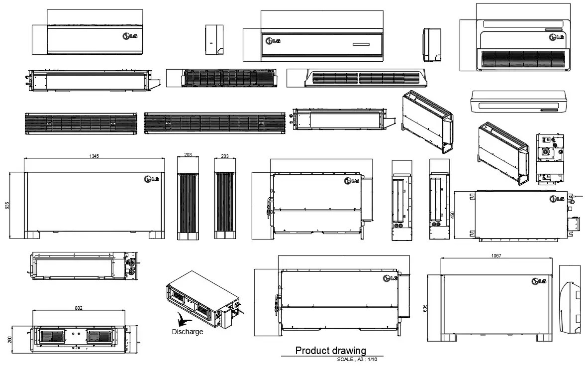 DWG CAD Air conditioning ( AC ) Block Drawing.Download the