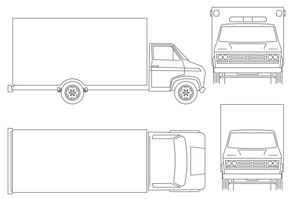 Delivery Truck Elevation Blocks AutoCAD Drawing DWG File