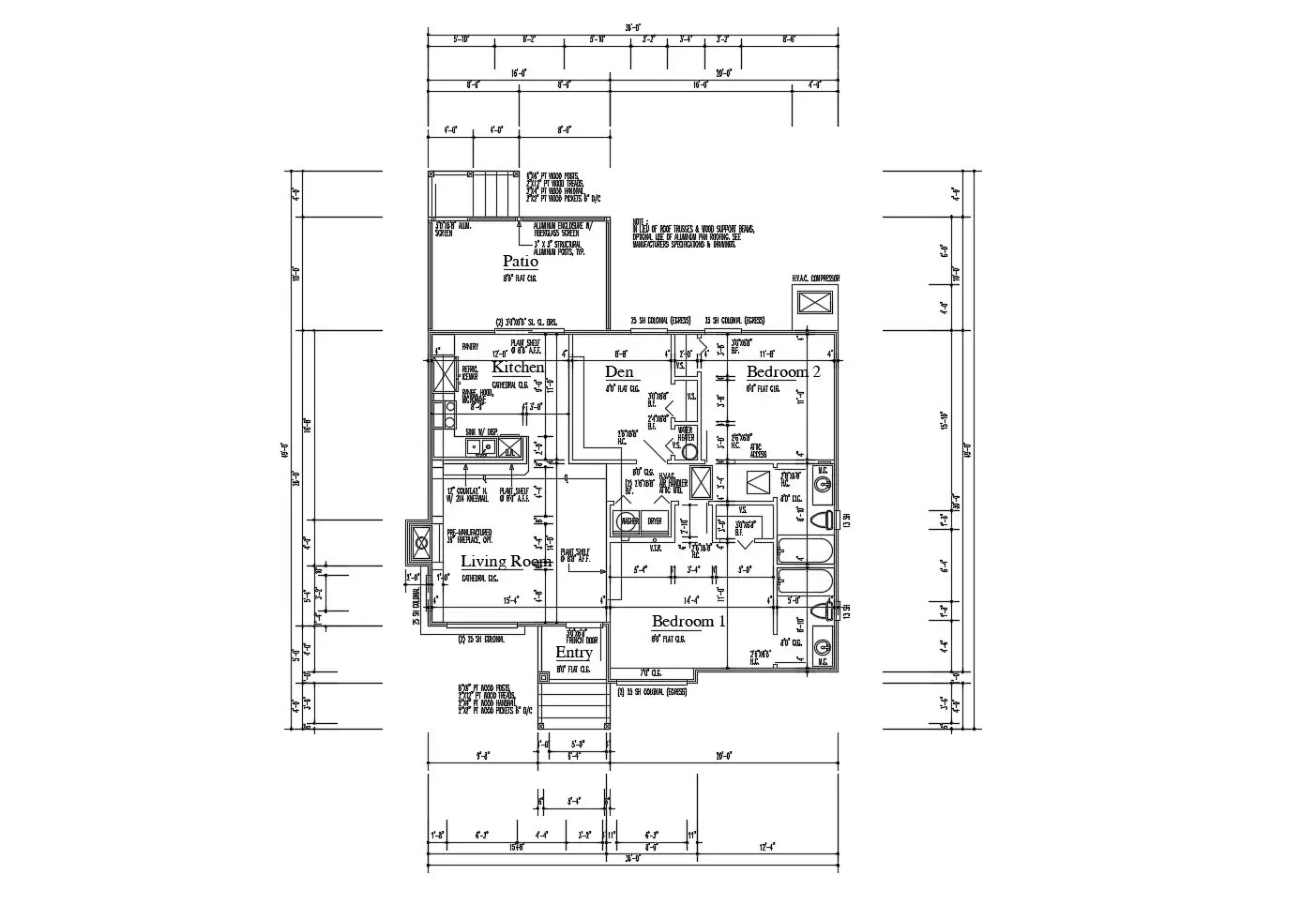 Design of House 36'' x 49'' with detail dimension in